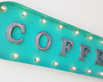 "On Sale! 39"" COFFEE Metal Oval Sign - Bean Java Mocha Late Espresso Bar Cafe Restaurant Diner - Vintage Style Rustic Marquee Light Up"