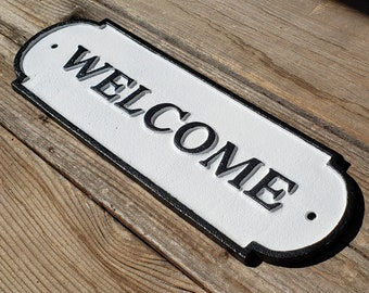 On Sale! - WELCOME - Very Large Solid Cast Iron Sign Metal Vintage Antique Style Entry Door Sign Plaque