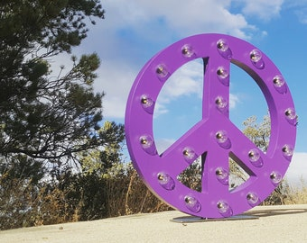 "ON SALE! 21"" Large Peace Sign Symbol Battery Operated Rustic Metal Vintage Inspired Light Up Marquee Sign - 23 COLORS!"