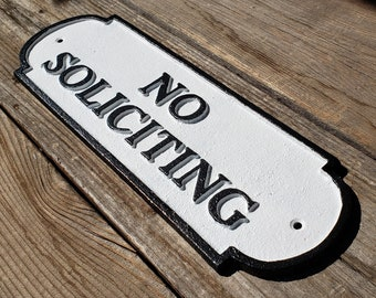 On Sale! - NO SOLICITING - Very Large Solid Cast Iron Sign Metal Vintage Antique Style Entry Door Sign Plaque