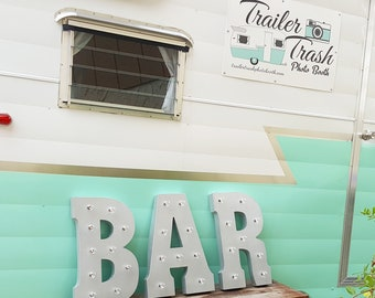 ON SALE! Battery Operated BAR Metal Vintage Rustic Style Marquee Light Up Sign. Batteries Included! Brewery Beer Cocktails Pub Drink Letters