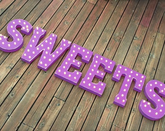 ON SALE! SWEETS Treats Sugar Snacks Candy Free Standing or Hang. Rustic Metal Vintage Style Marquee Sign Light Up Letters. 24 Colors.