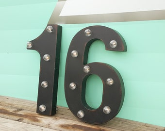 ON SALE! 16 Sweet Birthday Party Prop Numbers. Free Standing or Hang. Rustic Metal Vintage Style Marquee Sign Light Up Letters. 24 Colors.