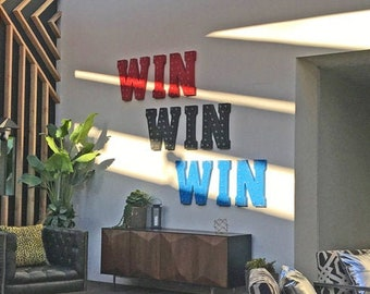 """On Sale! 21"""" WIN Metal Sign - Prize Carnival Fair Amusement Winner Standing or Hang - Rustic Vintage Style Marquee Light Up Letters"""