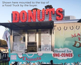 ON SALE! DONUTS Doughnut Doughnuts Donut Free Standing or Hang. Rustic Metal Vintage Style Marquee Sign Light Up Letters. 24 Colors.