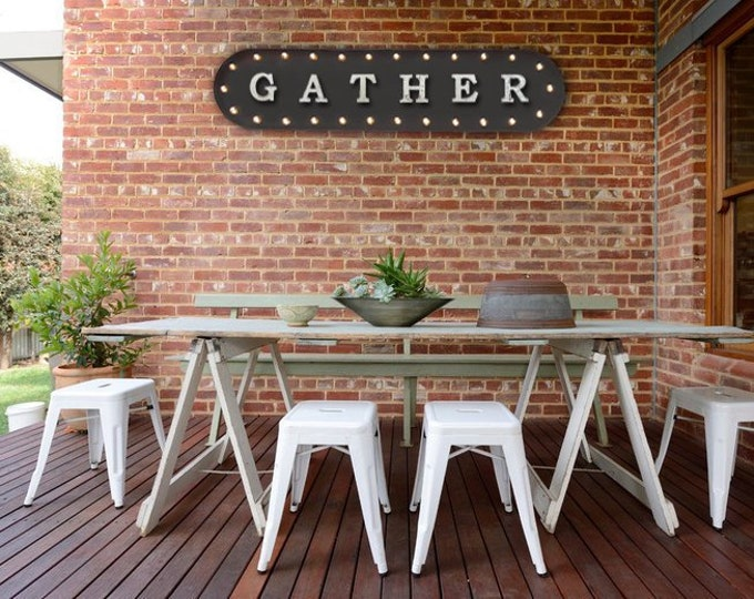 """Featured listing image: On Sale! 39"""" GATHER Home Friends Gathering Dinner Family Date Night Vintage Style Rustic Metal Marquee Light Up Sign"""