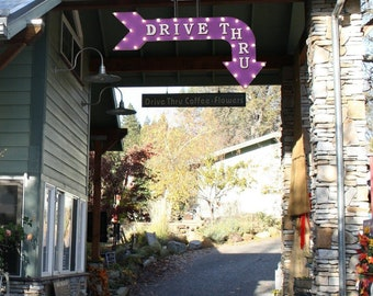 """On Sale! 48"""" DRIVE THRU Metal Arrow Sign - Order Here Food Pick Up - Vintage Rustic Curved Marquee Light Up"""