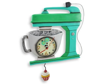 Vintage Mixer with Cupcake - Whimsical Colorful - Animated Pendulum Wall Clock