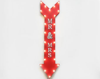 "On Sale! 48"" MR & MRS Metal Sign - Plugin or Battery Operated - Love Wedding Married I Do Wedding - Vintage Rustic Marquee Arrow Light Up"