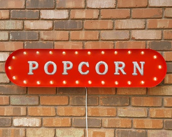 """On Sale! 39"""" POPCORN Metal Oval Sign - Movies Movie Pop Corn - Vintage Style Rustic Marquee Light Up"""