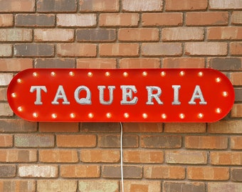 """On Sale! 39"""" TAQUERIA Metal Oval Sign - Drinks Food Mexican Spanish Taco Tuesday - Vintage Style Rustic Marquee Light Up"""