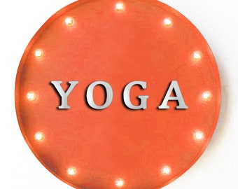 """On Sale! 20"""" YOGA Round Metal Sign - Plugin, Battery or Solar - Health Fitness Workout Studio - Rustic Vintage Marquee Light Up Sign"""