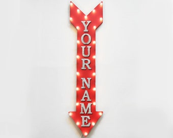 """On Sale! 48"""" CUSTOM Straight Metal Arrow Sign - Personalized Customized Name Word - Double Sided Hang Suspend - Rustic Marquee Light Up"""