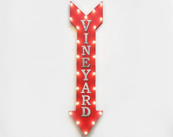 "On Sale! 48"" VINEYARD Metal Sign - Plugin or Battery Operated - Winery Wine Tasting Red White Glass - Vintage Rustic Marquee Arrow Light Up"