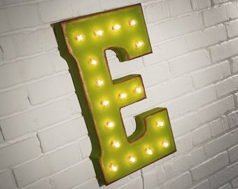 "On Sale! 21"" Letter E Metal Sign - Rustic Vintage Style Custom Marquee Light Up Alphabet Letters"