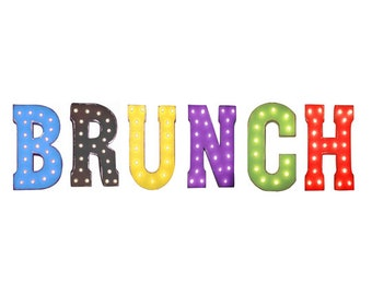 "On Sale! 21"" BRUNCH Metal Sign - Breakfast Lunch Line Brunch Food Restaurant - Rustic Vintage Style Marquee Light Up Letters"