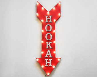 "On Sale! 36"" HOOKAH Metal Arrow Sign - Plugin or Battery Operated Led - Smoke Flavored Vapor Vape Lounge - Rustic Marquee Light up"