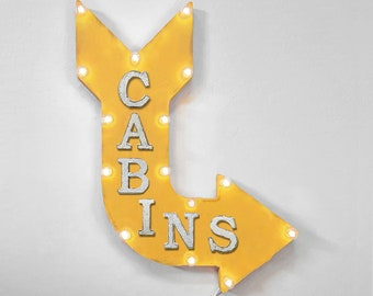 """On Sale! 24"""" CABINS Curved Metal Arrow Sign - Air Bnb Home Room Lodge Cabin Board House Rent Daily Nightly - Rustic Vintage Marquee Light Up"""