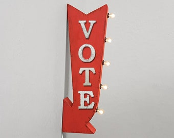 """On Sale! 25"""" VOTE Metal Arrow Sign - Plugin or Battery Operated - Voter Politics Political President - Double Sided Rustic Marquee Light Up"""