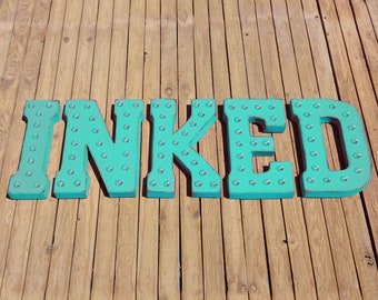 ON SALE! INKED Tattoo Parlor Tattoos Ink Tatted Free Standing or Hang. Rustic Metal Vintage Style Marquee Sign Light Up Letters. 24 Colors.
