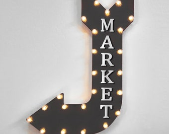 """On Sale! 36"""" MARKET Metal Arrow Sign - Plugin, Battery or Solar - Farm Grown Store Food Produce Fruit Vegetables - Rustic Marquee Light Up"""