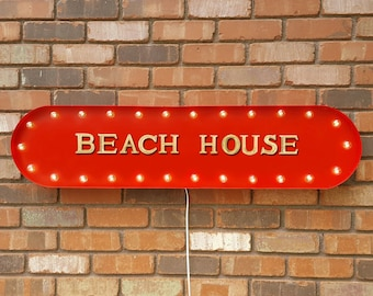 "On Sale! 39"" BEACH HOUSE Beach Ocean House Bungalow Vacation Rental Rentals Vintage Style Rustic Metal Marquee Light Up Sign"