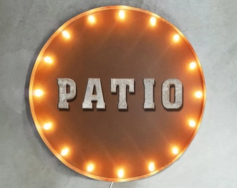 "On Sale! 30"" PATIO Round Metal Sign - Plugin or Battery Operated - House Heart Live Living Porch Welcome - Rustic Vintage Marquee Light Up"