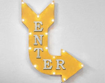 "On Sale! 24"" ENTER Curved Metal Arrow Sign - Store Shop Come In Welcome Here - Rustic Vintage Marquee Light Up"