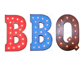 """On Sale! 21"""" BBQ Metal Sign - Plugin Battery or Solar - Barbecue Barbeque Ribs Steak Picnic Luncheon - Rustic Style Marquee Light Up Letters"""