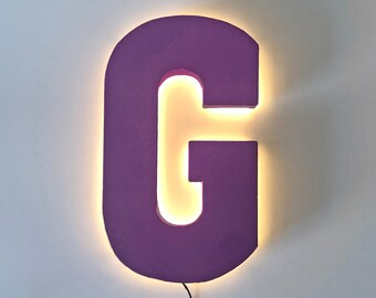 "On Sale! 21"" Letter G Backlit Metal Sign - Plugin or Battery Operated - Rustic Marquee Vintage Style Cutout Light Up"