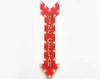 """On SALE! 48"""" WINE CELLAR Wine Cellar Vineyard Tasting Red White Grapes Plugin Battery Operated led Rustic Metal Light Up Arrow Marquee Sign"""