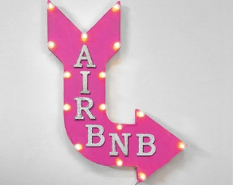 "On Sale! 24"" AIRBNB Curved Metal Arrow Sign - Air Bnb Home Room Lodge Cabin Board House Rent Daily Nightly - Rustic Vintage Marquee Light Up"