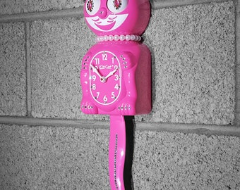 Limited Edition! Official PINK Kit Cat Clock - Lady Girl Female Honeysuckle - Jeweled Swarovski Crystals Kit Kat Cat Clock Klock