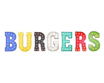 ON SALE! BURGERS Burger Cheeseburger Hamburger Free Standing or Hang Rustic Metal Vintage Style Marquee Sign Light Up Letters. 24 Colors.