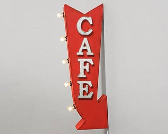 "ON SALE! 25"" CAFE Restaurant Diner Plug-In or Battery Operated Rustic led Double Sided Rustic Metal Arrow Marquee Light Up Sign"