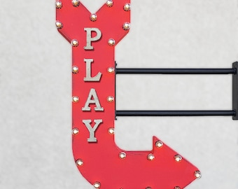 "ON SALE! 36"" PLAY Plugin Double Sided Playroom Gameroom Game Room Games Light Up Arcade Games Large Rustic Metal Marquee Sign Arrow"