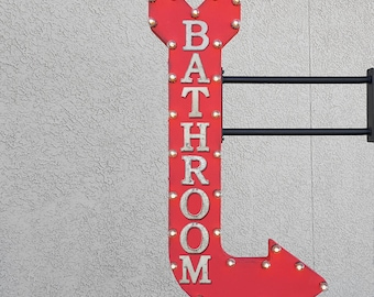 """On Sale! 48"""" BATHROOM Metal Arrow Sign - Restroom Ladies Gents Girls Boys Toilet - Double Sided Hang or Suspend - Rustic Marquee Light Up"""