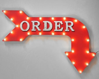 """On Sale! 36"""" ORDER Metal Arrow Sign - Pay Here Pick Up To Go Food Meal - Double Sided Hang or Suspend - Rustic Marquee Light Up"""