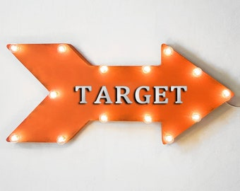 "On Sale! 24"" TARGET Straight Metal Arrow Sign - Shoot Shooting Bows Arrows Target Practice Range Guns - Rustic Vintage Marquee Light Up"