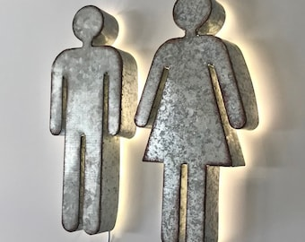 Metal Bathroom Restroom Door Male Female Mr & Mrs Mens Womens Set of 2 Symbol Wedding Prop His Hers Light Up Sign - 15 COLORS!