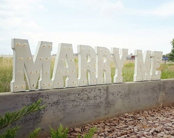 On SALE! MARRY ME. Battery Operated. Choose Free Standing or Hang. Rustic Metal Vintage Marquee Sign Light Up Letters Wedding Love Bride