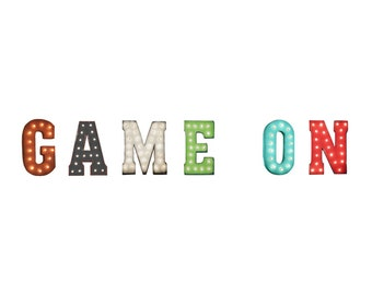 ON SALE! Game On Arcade Room Card Games Pinball Free Standing or Hang. Rustic Metal Vintage Style Marquee Sign Light Up Letters. 24 Colors.