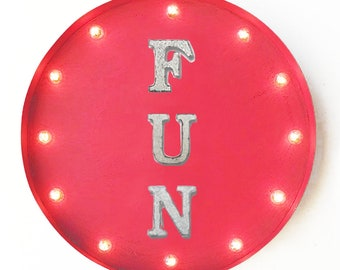 "On Sale! 20"" FUN Round Metal Sign - Plugin or Battery Operated - Kid Kids Zone Play Have Happy Toy Toys - Rustic Vintage Marquee Light Up"