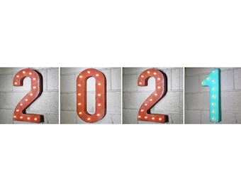 """On Sale! 2021 Metal Light Up Sign - 21"""" Tall - Plugin, Battery or Solar - Happy New Year Party - Rustic Vintage Marquee Light Up Numbers."""