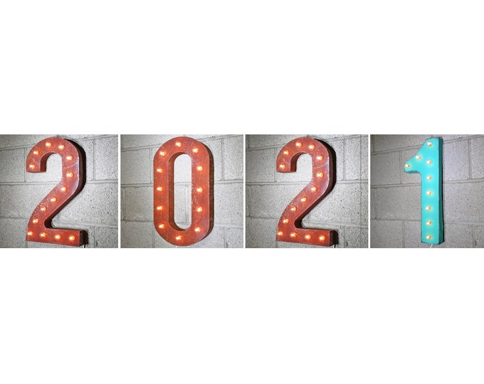 "Featured listing image: On Sale! 2021 Metal Light Up Sign - 21"" Tall - Plugin, Battery or Solar - Happy New Year Party - Rustic Vintage Marquee Light Up Numbers."