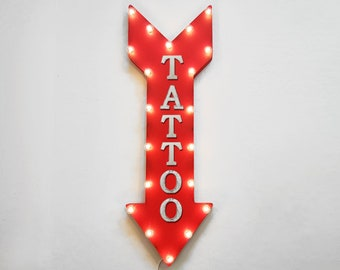 """ON SALE! 36"""" TATTOO Artist Tatted Inked Ink Parlor Plug-In or Battery Operated led Light Up Restaurant Large Rustic Metal Marquee Sign Arrow"""