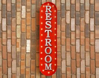 "On Sale! 39"" RESTROOM Metal Oval Sign - Bathroom Mens Womens Gentlemen Ladies Girls Boys The Lieu - Vintage Style Rustic Marquee Light Up"