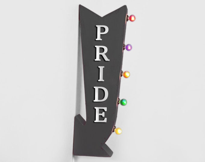 "Featured listing image: On Sale! 25"" PRIDE Metal Arrow Sign - Plugin or Battery Operated - Gay Lesbian LGBTQIAPK Happy Pride - Double Sided Rustic Marquee Light Up"