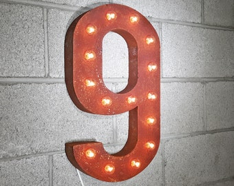 ON SALE! Plug-In Number 9 Nine. 14 Color Options! Rustic Metal Marquee Light Up Sign. We have ALL the numbers 0 1 2 3 4 5 6 7 8 9