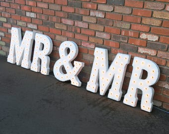 On SALE! MR & MR Battery Operated, Free Standing or Hang Hooks. Rustic Metal Vintage Marquee Sign Light Up Letters Wedding Love Gay Groom